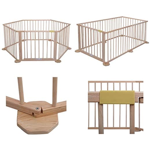 Baby Playpen 6 Panel Foldable Wooden Frame Kids Play Center Yard Indoor&Outdoor