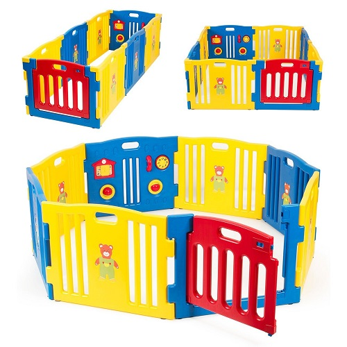 Kidzone Baby Playpen Kids 8 Panel Safety Play Center Yard Home Indoor