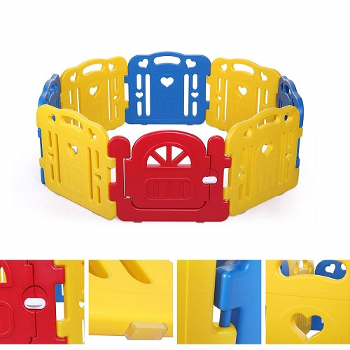 Tobi Baby Playpen Safety Play Center Yard Baby Kids Home Indoor Outdoor Pen 8 Panel Red Yellow Blue